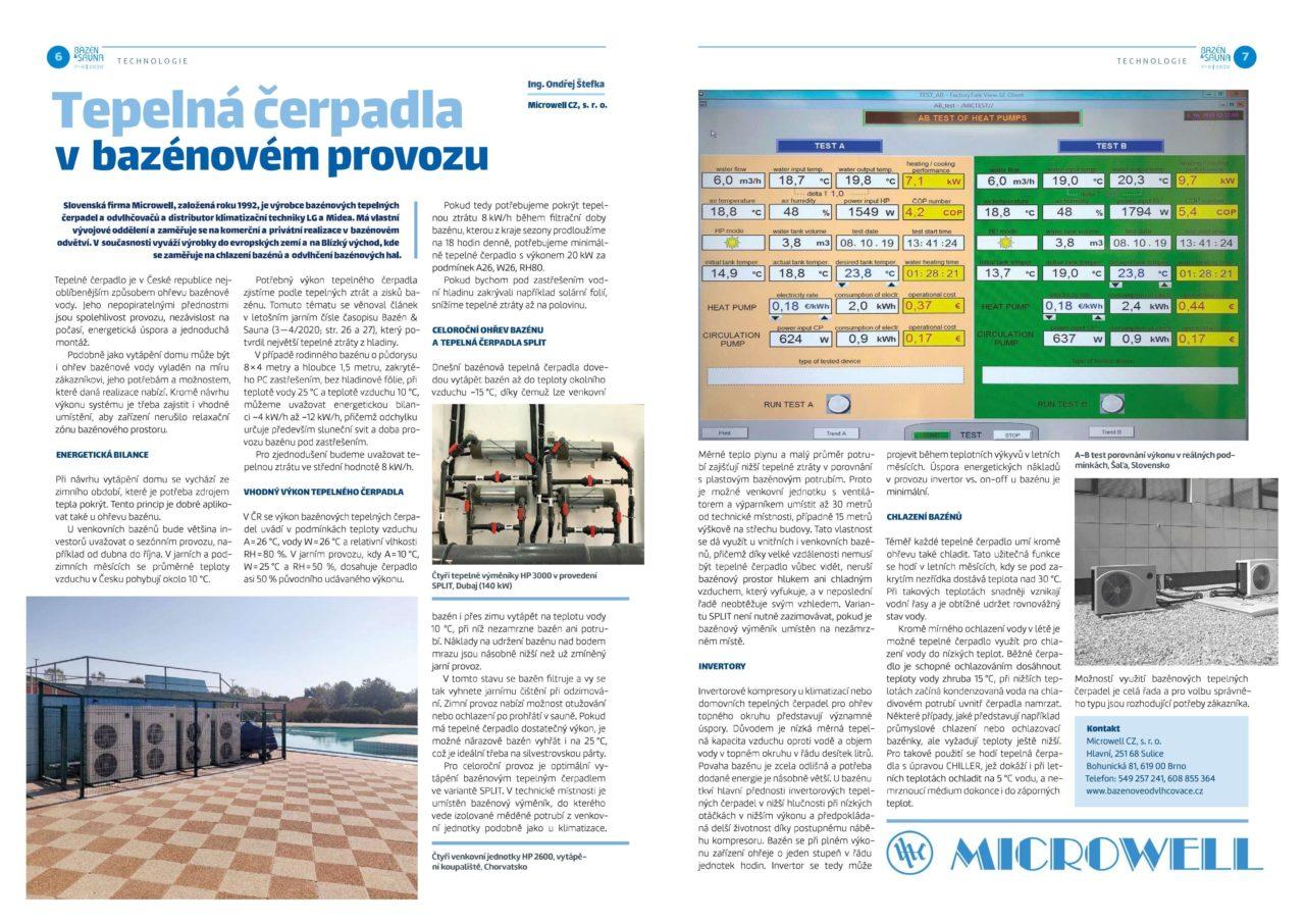 článek z časopisu Bazén&Sauna 5'6 2020 - bazénová tepelná čerpadla | Blog - Microwell