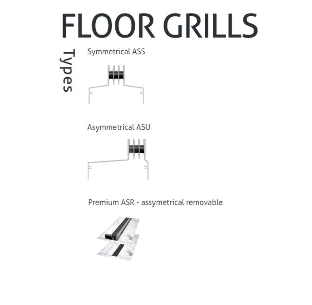 Floor Grills Type | Aluminiowe podłogowe szyny wentylacyjne - Microwell